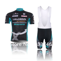 Free Shipping TX 2013 Tour Of France Bianchi Team Pro Cycling Jerseys/Short Sleeve Suit/Bib Bicycle Shirt+Trousers