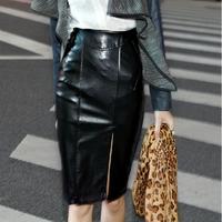 OISK knee length women new 2014 pu leather elastic high waist office party wear vintage black pencil skirt slit