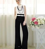 Womens Vintage Career Slim High Waist Flare Wide Leg Long Pants Palazzo Trousers