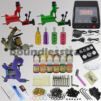 OPHIR TOP 354pcs Tattoo Kit Set 4 Machine Gun with 12 Ink Pigment Grip Needles _TA091