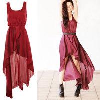 2014 New Arrival Summer European Asymmetrical Ankle Length Vintage Chiffon Dress 3 Colors Y/458