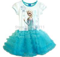New 2014 White Girls Long Costume Lace Dress Princess Frozen Elsa ,Anna