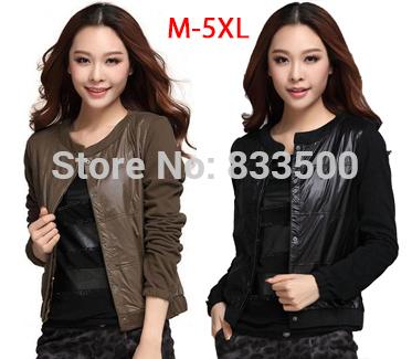 2014 New Spring Autumn Outerwear Female Fashion Varsity Patchwork Ladies Bomber Jackets Women Plus Size Coat Xxxl 4Xl 5Xl 5515(China (Mainland))
