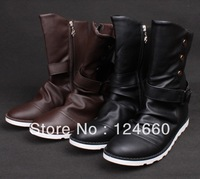 2013 hot selling men denim boots fashion medium leg winter leather boots for men