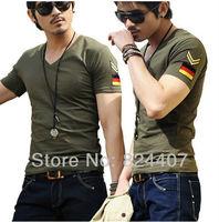 Casual Slim Fit V Neck T Shirt For Men T-Shirt camisetas Fashion Summer Army Green Militare Armband Plus Size TShirt Clothing