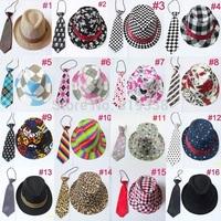 """Kids fedora hats with neck tie set Baby Trilby Jazz cap with necktie Children acting cap Boy hat """"Little Man"""" cap 12set BH231"""