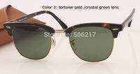 100% UV Brand name sunglasses original box case men women retro designer rb clubmaster 3016 W0366 51 mm Leopard/Gold 51mm