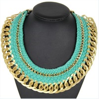 Latest Hot Sale Fashion Popular Valentine's day gifts Wool knitting Big Chunky Necklace  chokers NK195