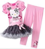 Retail,2014 new design girls hello kitty dress+pants set cartoon kids clothing suit KT short sleeve dress set pink