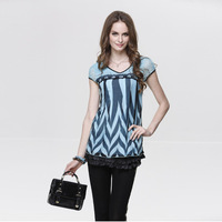 Luxury autumn -summer 2014 designer fashion high quality medium-long real silk chiffon lace women's shirt blouses and tops