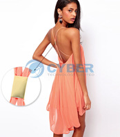 Promotions!! 2014 New Fashion Backless Strap Dress Hollow Sleeveless Pure Color Chiffon Sexy Ladies Dress The Beach Dress 18466
