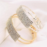 new 2014 Min Order $5 (Mix Order)2 Colors 2014  Newest Crystal Full Rhinestone Square Cuff Bangle Bracelet