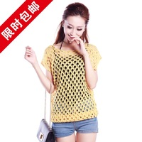 thin empty thread crochet sweater shirt short-sleeve sweater outerwear female loose batwing shirt\to my shop have a surprise