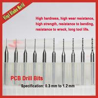 Free shipping New 0.3-1.2mm Tungsten Steel Carbide PCB Drill Bits, Mini CNC Engraving Drill Bits