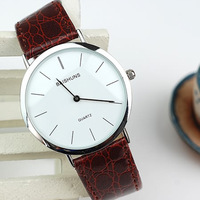 New 2013 Top Quality Fashion Big simple Men&Women Quartz Watch Leather Strap Watches Dress Watches Wristwatches Christmas Gifts