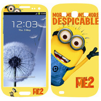 For s3 Cute Cartoon Despicable Me Minions front back Skin Stickers for Samsung Galaxy S3 III I9300 LCD screen protector