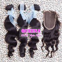 peruvian loose wave virgin hair 4pcs lot,human hair weave wavy closure and 3 bundles deal,cheap closure free shipping