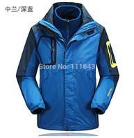 Super Quality 2014 Brand Windproof waterproof Outdoor camping Hiking climbing jackets coats 3 in 1 detachable fleece jacket
