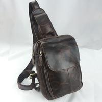 High Quality Vintage Retro Crazy Horse 100% Genuine Leather Cowhide Men Chest Bag Shoulder Cross Body Messenger Bag Bags For Men
