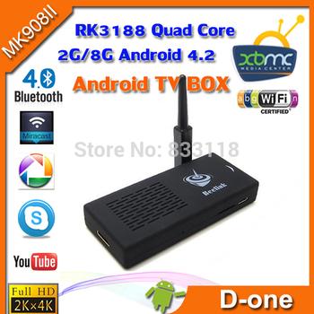 MK908II Android TV Box Quad Core Google Smart TV Stick 1.6GHZ 2GB /8GB Antenna XBMC Bluetooth Micro SD IPTV Mini PC
