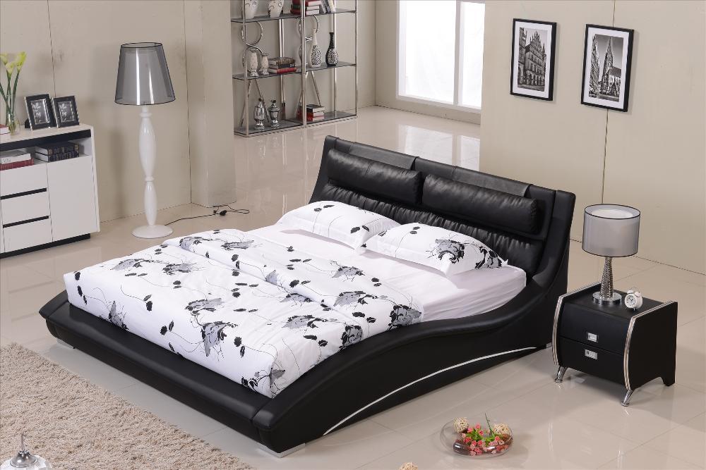 Furniture bedroom Confortable Black leather headrest Bed solid Wood Frame Curved shaped smart modern bed B07(China (Mainland))