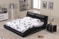 Furniture bedroom Confortable Black leather headrest Bed solid Wood Frame Curved shaped smart modern bed B07