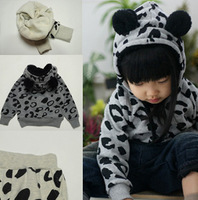 Free Shipping 2013 new autumn-summer Cotton Baby long sleeve grey  Leopard suit children clothing sets wholesale 5pcs/lot