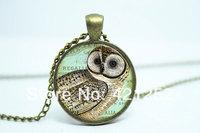 10pcs/lot Owl Necklace, Vintage Style Jewelry, Bronze Woodland Pendant Glass Cabochon Necklace