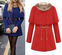 2015 Fur Collar Cape Winter Fashion Woolen Coats S M L XL poncho Warm abrigos mujer new year female long trench manteau femme
