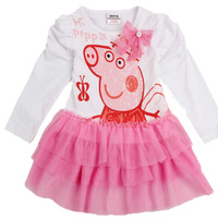 Brand Nova Children Peppa Pig Clothing 18m~6y Cartoon Embroidery Kids Wear Full Sleeve Pleated Princess Baby Girls Dresses TZ44