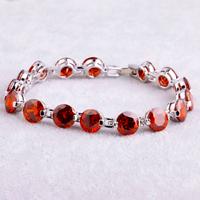 Wholesale Fashion 925 Silver Bracelets Jewelry 8*8mm Round Cut Garnet 925 Silver Bracelet  Love Style Gift