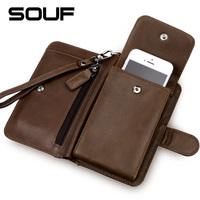 Multifunctional SOUF men's wallet 100%  cowhide Genuine leather mobile phone wallet purse