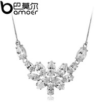 Christmas Gift Flower Crystal Pendant Necklace for Women 18k Platinum Plated AAA Zircon Luxury High Quality Jewelry YIN005