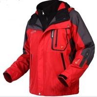 winter autumn men's warmcoat outdoor waterproof Camping Hiking skiing 2 in 1 jackets windbreaker sports wear+ inner fleece coat