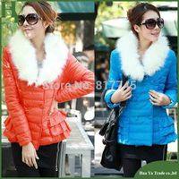 J012 Free Shipping 2013 New Women Winter Short Jacket Korean Fur Collar Candy Color Cotton Padded Coats Parka