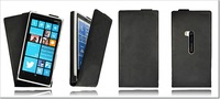 lumia 920 Black Handmade Genuine Real 100% Leather Flip Case Cover for Nokia lumia 920 case