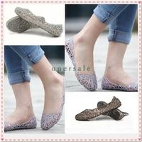 2014 summer breathable crystal bling plastic jelly shoes cutout flat heel bird nest mesh bird nest female flat sandals