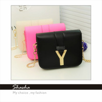new 2014 women's leather handbag women messenger bags designer Y brand metal chain purse crossbody candy color desigual AXB00030