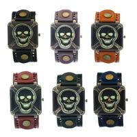 Ghost Rider Cool Watch     Copper Skeleton Skull Dial Bronze Case Men boys Wide Belt Genuine Leather Wide Strap Quartz Watch