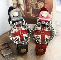 Freeshipping Newest Arrive Fashion Retro Cow leather Lovers Watches Men Women Wristwatches English Flag Quartz Watch Wholesale