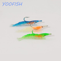 6cm 3g free shipping winter fishing lures soft bait luminous soft shrimp sea fishing tackle with hook bass carp  topwater lure