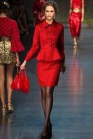 Free Shipping 2014 Trend Runway Red & Black  Full Sleeve Single Breasted  Tops + Slim Knee-Length Skirt Twinset Dress