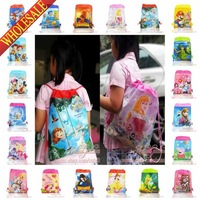 120Pcs Children Backpacks, Cartoon Drawstring Backpack bags,School Bags,Non-woven Material,Children's Day Gift 35X27CM