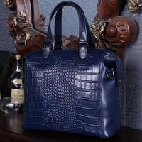Guaranteed Genuine crocodile Embossed Leather Handbag Shoulder Bag women Messenger bags genuine leather Bags tote handbags 2015