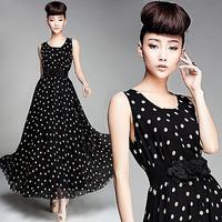 With belt !2014 new OL style maxi dress,silk chiffon vest  summer dress,Dot dress free shipping F.LYQ.064