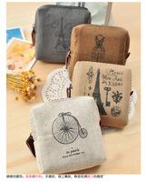 Free shipping square canvas zipper mini wallets coin purse zero pouch European vintage style card case holder key wallet