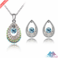 Wholesales Fashion Jewelry 18K Platinum Plated Austrian Crystal Trendy Jewelry Sets with necklace earring for women Z2028