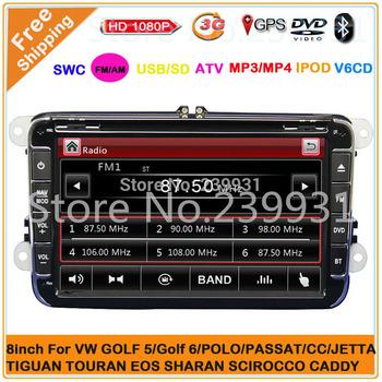 2 din 8 inch Car DVD player for VW GOLF 5 Golf 6 POLO PASSAT CC JETTA TIGUAN TOURAN SHARAN SCIROCCO TRANSPORTER CADDY with GPS