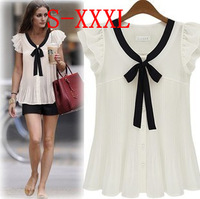 Fashion Plus Size Women Elegant Butterfly Short Sleeve Chiffon Shirt Summer Pure Color Bow Tops Cardigan Pleated Blouse & Shirts