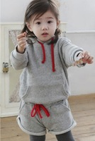 Free Shipping 2013 new autumn-summer fashion sports Grey color Cotton long sleeve hood shorts suit Baby clothing sets wholesale